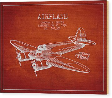 Airplane Patent Drawing From 1938 Wood Print by Aged Pixel