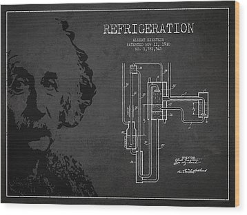 Albert Einstein Patent Drawing From 1930 Wood Print by Aged Pixel