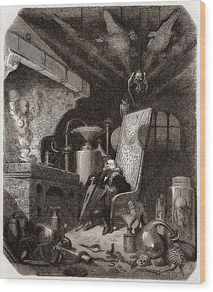 Alchemist At Work, 19th Century Wood Print by Science Photo Library