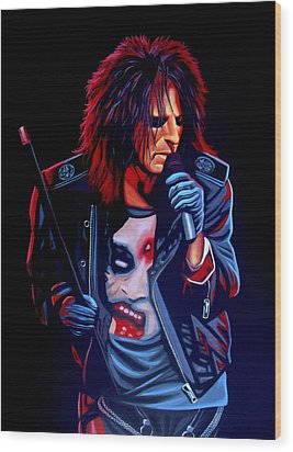 Alice Cooper  Wood Print by Paul Meijering