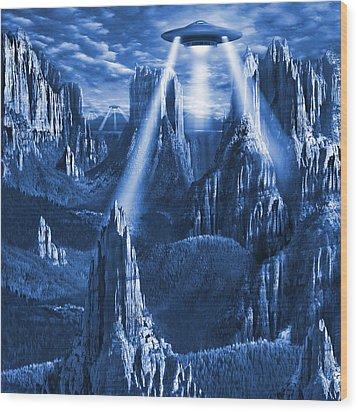 Alien Planet In Blue Wood Print by Mike McGlothlen