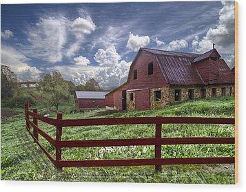 All American Wood Print by Debra and Dave Vanderlaan