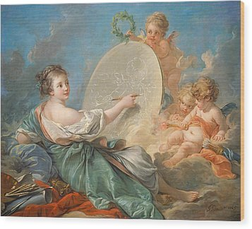 Allegory Of Painting Wood Print by Francois Boucher