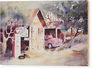 Wood Print featuring the painting Al's Auto Shop by John  Svenson
