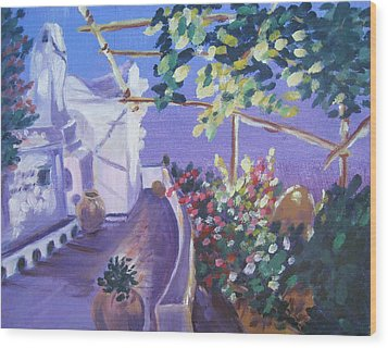 Wood Print featuring the painting Amalfi Evening by Julie Todd-Cundiff