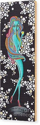 Amanda Groovy Chick Series Wood Print by Joseph Sonday
