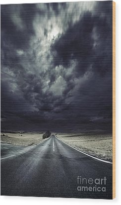An Asphalt Road With Stormy Sky Above Wood Print by Evgeny Kuklev