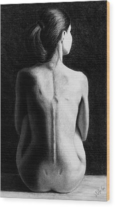 Wood Print featuring the drawing Ana In Waiting  by Joseph Ogle