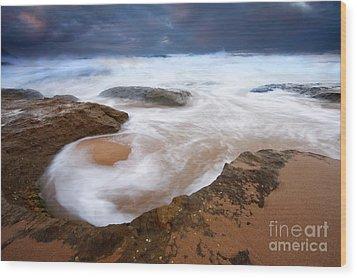 Angry Sea Wood Print by Mike  Dawson