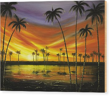 Another Sunset In Paradise Wood Print by Gina De Gorna