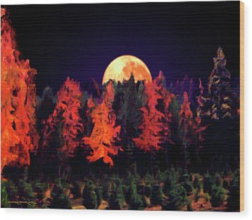 Apple Hill Moonrise Wood Print
