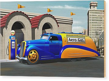 Art Deco Gas Truck Wood Print