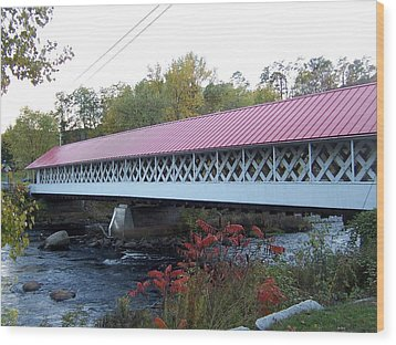 Ashuelot Covered Bridge Wood Print by Catherine Gagne