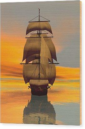 Wood Print featuring the digital art At Full Sail by Sandra Bauser Digital Art