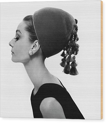 Audrey Hepburn Wearing A Givenchy Hat Wood Print by Cecil Beaton