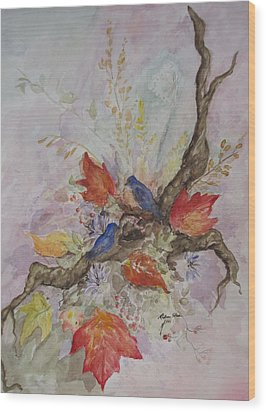 Autumn Bluebirds Wood Print