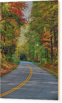 Wood Print featuring the digital art Autumn Drive by Kelvin Booker