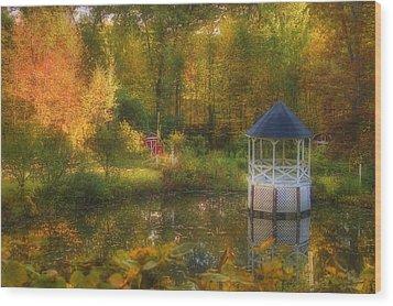 Autumn Gazebo Wood Print by Joann Vitali