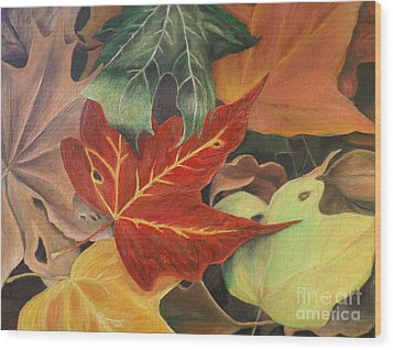 Wood Print featuring the painting Autumn Leaves In Layers by Christy Saunders Church