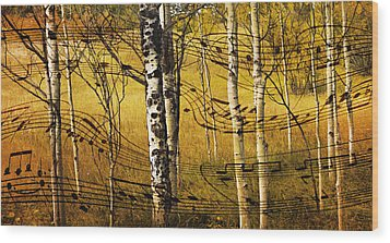 Autumn Sonata Wood Print by Theresa Tahara