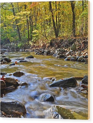 Autumn Stream Wood Print by Frozen in Time Fine Art Photography