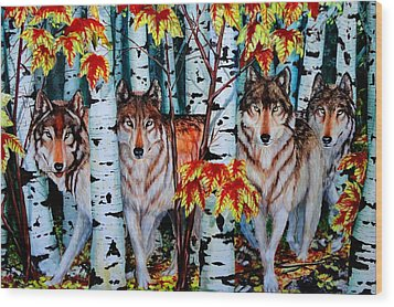 Autumn Wolves Wood Print