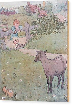 Baa Baa Black Sheep Wood Print by Leonard Leslie Brooke