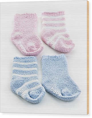 Baby Socks Wood Print by Elena Elisseeva