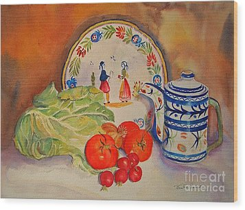 Wood Print featuring the painting Back From Market by Beatrice Cloake