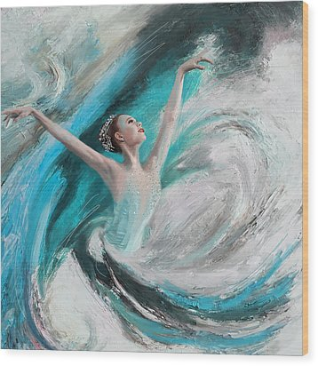 Ballerina  Wood Print by Corporate Art Task Force