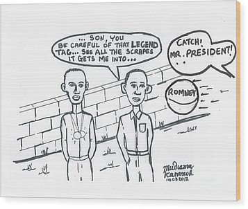 Barack Obama And Usain Bolt Cartoon Wood Print by Mudiama Kammoh