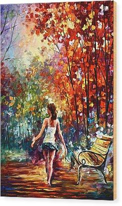 Barefooted Stroll Wood Print by Leonid Afremov