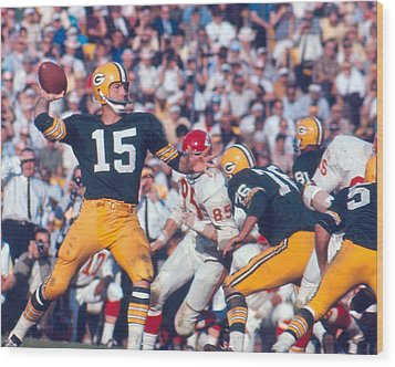 Bart Starr By Art Rickerby Wood Print