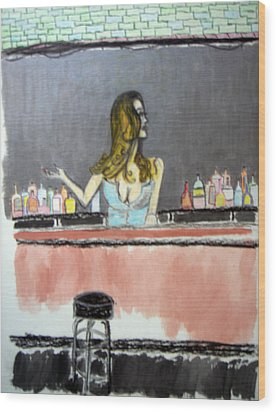 Wood Print featuring the painting Bartender by J Anthony