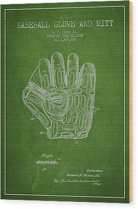 Baseball Glove Patent Drawing From 1924 Wood Print by Aged Pixel