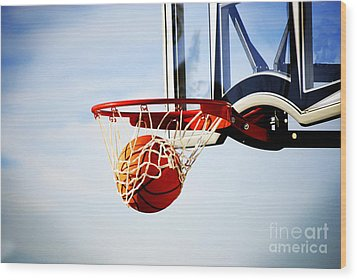 Basketball Shot Wood Print by Lane Erickson