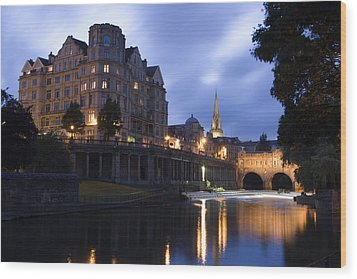 Bath City Spa Viewed Over The River Avon At Night Wood Print by Mal Bray