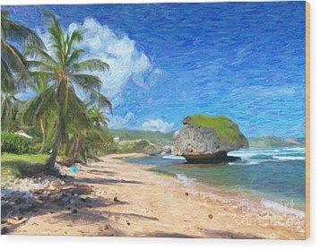 Bathsheba Beach In Barbados Wood Print