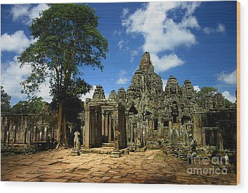 Bayon Temple View From The East Wood Print by Joey Agbayani