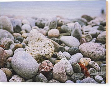 Beach Pebbles Wood Print
