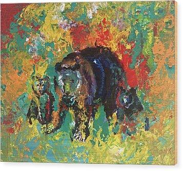 Bear Family Wood Print by Peter Bonk