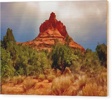 Bell Rock Vortex Painting Wood Print by Bob and Nadine Johnston