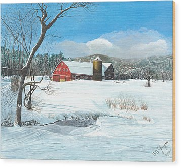 Wood Print featuring the painting below freezing in New England by Stuart B Yaeger
