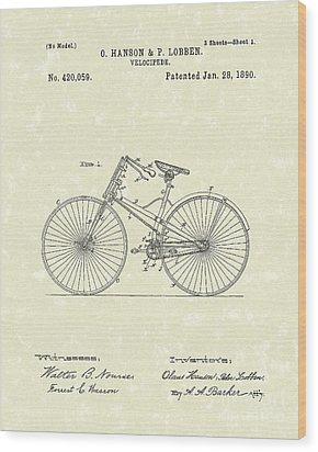 Bicycle 1890 Patent Art Wood Print by Prior Art Design