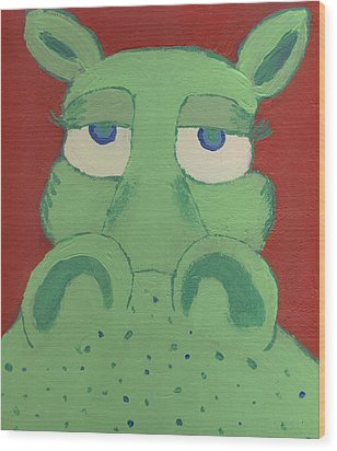 Wood Print featuring the painting Big Green Potamus by Yshua The Painter