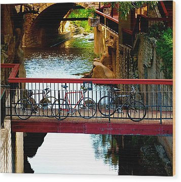 Bikes Over Waller Creek In Austin Wood Print