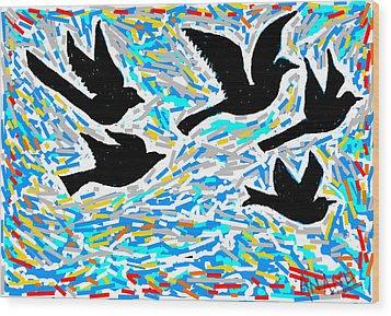 Birds In Flight Wood Print by Anand Swaroop Manchiraju