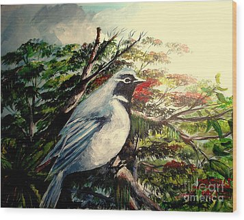 Wood Print featuring the painting Black-throated Robin  by Jason Sentuf