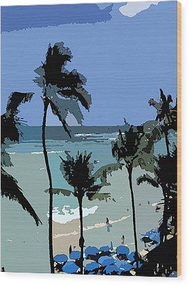 Wood Print featuring the digital art Blue Beach Umbrellas by Karen Nicholson
