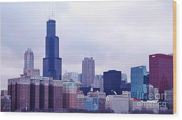 Wood Print featuring the photograph Blue Chicago Skyline by Brigitte Emme